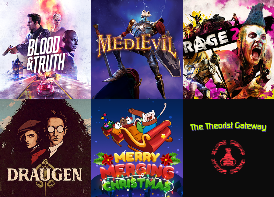 Blood & Truth, MediEvil, Rage 2, Draugen, Cartoon Network Merry Merging Christmas, The Theorist Gateway Game Theory ARG